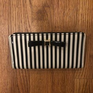 Apt. 9 Black and White Striped Wallet with Bow